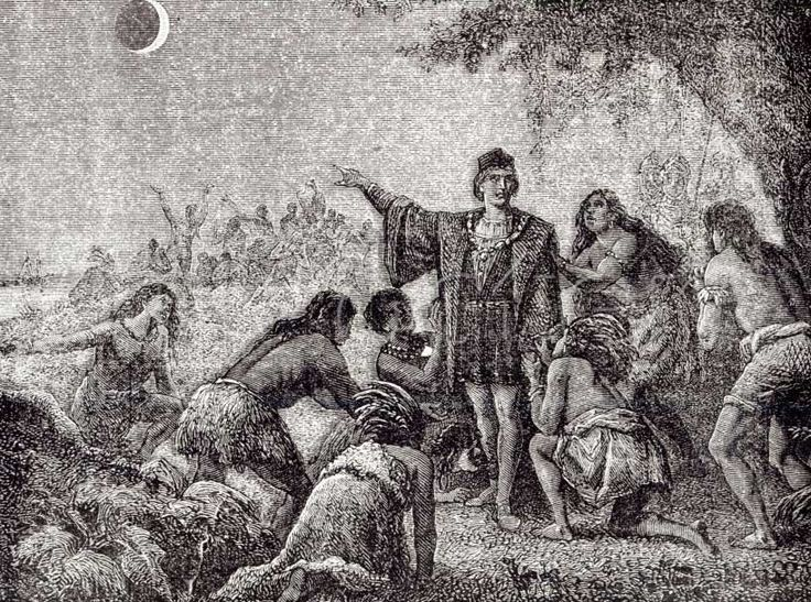 """Illustration of Columbus using a lunar eclipse to impress the Indigenous people of Jamaica. (Credit: Astronomie Populaire 1879, p 231 fig. 86) Mona Evans, """"Four Historic Eclipses"""" http://www.bellaonline.com/articles/art301534.asp"""