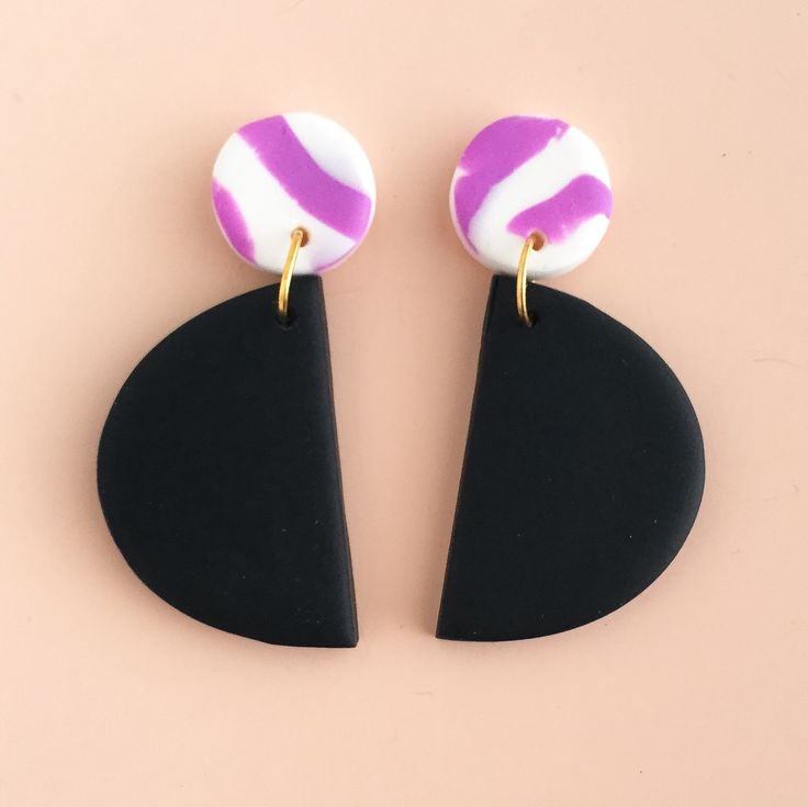 Polymer Clay Statement Earrings in a violet, black and white colour palette. by colourwork on Etsy https://www.etsy.com/au/listing/468796438/polymer-clay-statement-earrings-in-a