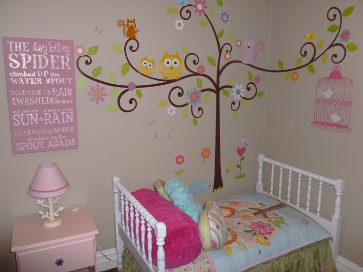 """Toddler Girl's Room...So Cute! Love The """"Happi Tree"""" Wall Decor And Itsy Bitsy Spider Word Art"""