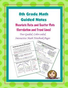 This is two 8th Grade Common Core guided, color-coded notebook pages for the Interactive Math Notebook on the concept of Scatter Plots, Correlation and Trend Lines.Included in the notes are important academic vocabulary words, examples of the types of correlation, and two guided practice examples of a interpreting and applying the correlation in a situations.