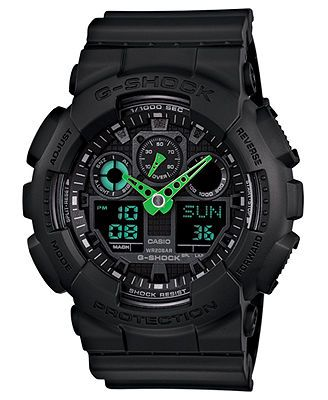 G-Shock Watch, Men's Analog-Digital Black Resin Strap 51x55mm GA100C-1A3