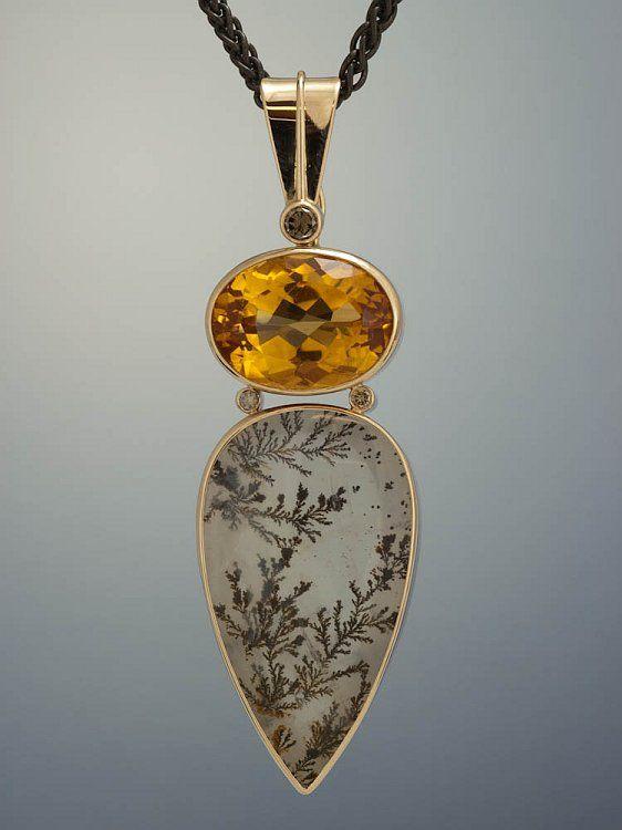 Patrick Murphy Design / 14k gold, dentritic quartz, citrine, brown diamond