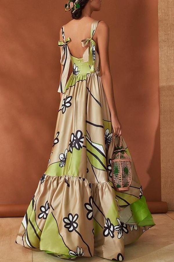 Stylish Apricot Floral Print Maxi Dress 9