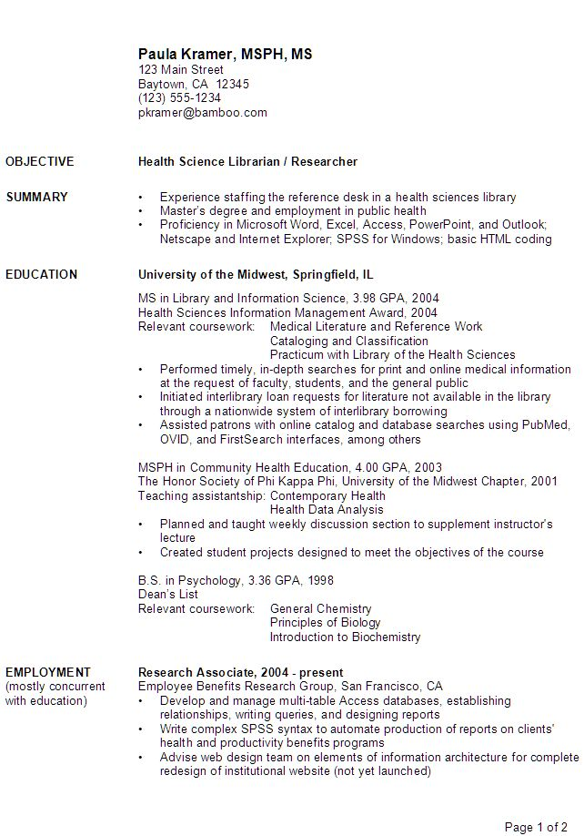 Science Resume Examples Jobs You will need to see science resume examples for guiding you to write a good resume
