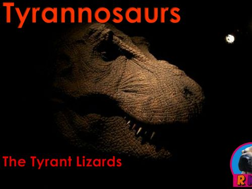 "Tyrannosaurs - ""The Tyrant Lizards""   More than just an informative PowerPoint presentation, this educational package contains a few higher level thinking activities to engage the students.  You will learn what characteristics define a tyrannosaur, as well as, some members of the tyrannosaur family. by Nygren Resources (The cover photo's attribution link can be found by sw77 here - https://www.flickr.com/photos/51025521@N04/5166619381"
