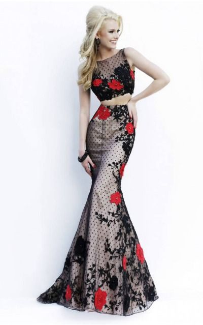 Formal Gowns, Long Lace Formal Dress, Sexy Two Piece Formal Dresses