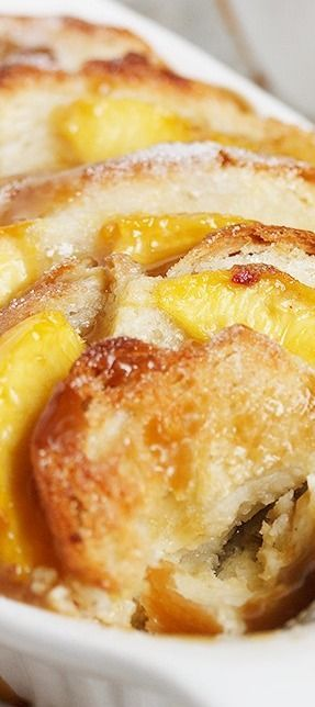 Peach Bread Pudding with Warm Brown Sugar Sauce - Seasons and Suppers