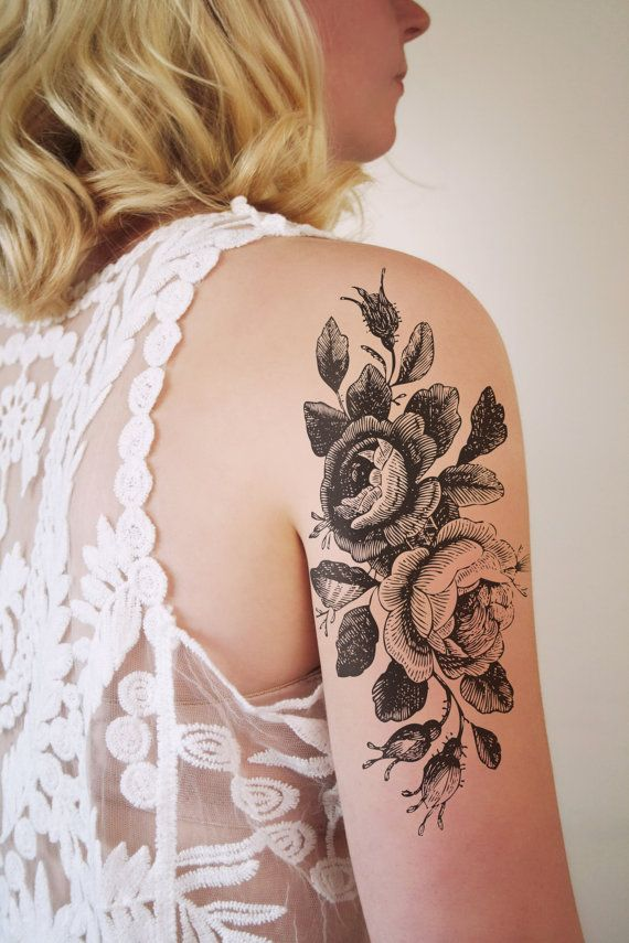 Large floral temporary tattoo / rose temporary by Tattoorary