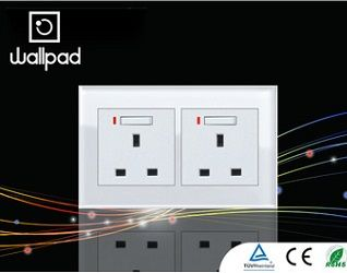 Crystal Glass 2 Gangs UK Double Electrical Power Sockets switches LED  http://mjhomeshopping.blogspot.com/2015/11/electrical-wall-switches-4.html