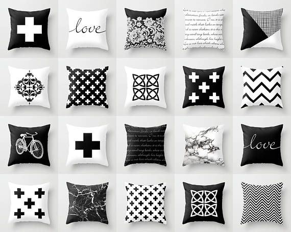 Black And White Throw Pillow Mix And Match Indoor Outdoor Etsy Pillow Mixing White Throw Pillows Throw Pillows