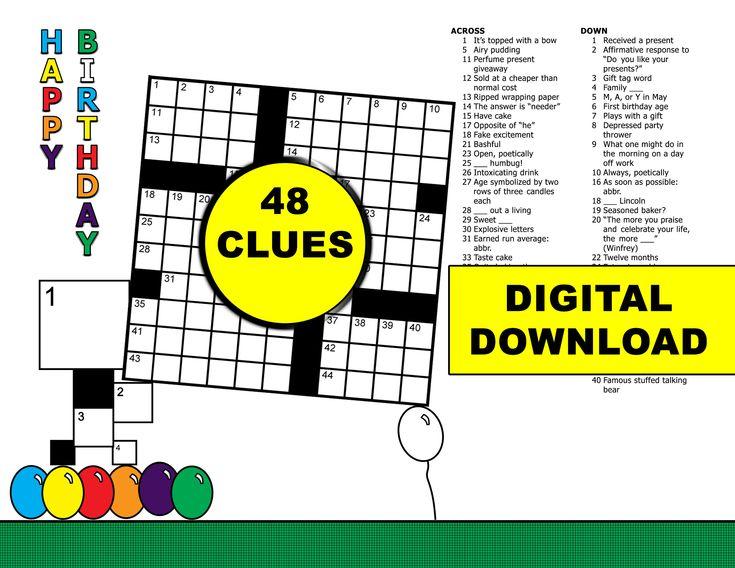 Birthday crossword puzzle 48 clues colordigital