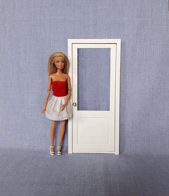 Single Door With Glass For 12 Inch Doll 1 6 Scale Barbie In 2020 Single Doors Glass Door Exterior Door Handles
