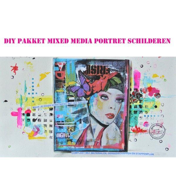 DIY pakket mixed media portret schilderen janet edens