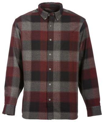 Bob Timberlake Yarn-Dyed Herringbone Shirt for Men - Charcoal/Wine - M