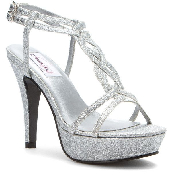 Dyeables Women's Vivi Pumps ($67) ❤ liked on Polyvore featuring shoes, pumps, heels, silver glitter, silver shoes, glitter pumps, silver strappy pumps, silver heel pumps and platform shoes