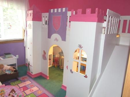 OMG! Princess castle loft bed! MUST MEASURE THEIR NEW ROOMS!