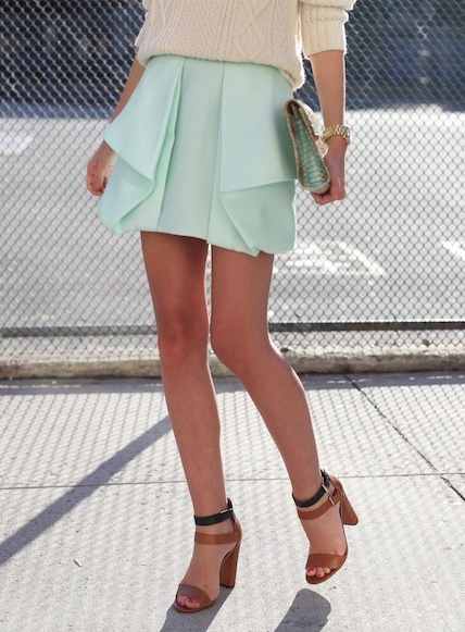 cable knit sweater + mint skirt