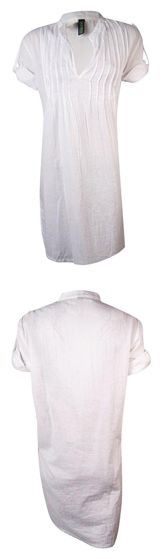 $18.4 - Ralph Lauren Short Sleeve V Neck Bathing Suit Cover Up White # ralphlauren