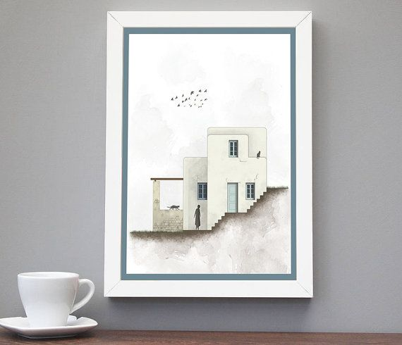 Minimalist art print,greece, greek islands, Cycladic houses, Home Decor, Wall prints, Posters, Decorative art print, INSTANT DOWNLOAD.