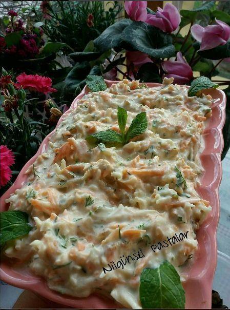 Kereviz Salatası Tarifi Kereviz Salatası Malzemeleri 1 adet orta boy kereviz 1 adet büyük havuç 5-6 yemek kaşığı yoğurt 2 yemek kaşığı mayonez 2 diş sarımsak Ceviz içi (isteğe bağlı ) Tuz Kereviz S…