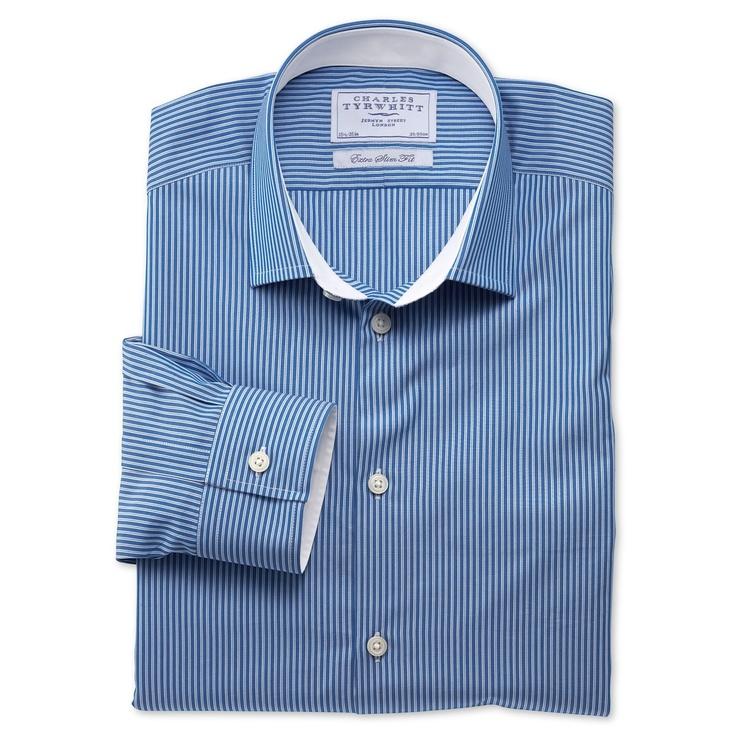 Shaw blue stripe business casual extra slim fit shirt for Mens dress shirts charles tyrwhitt