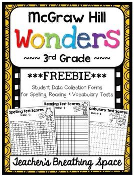 Wonders 3rd Grade --- Student Data Forms for Spelling / Re