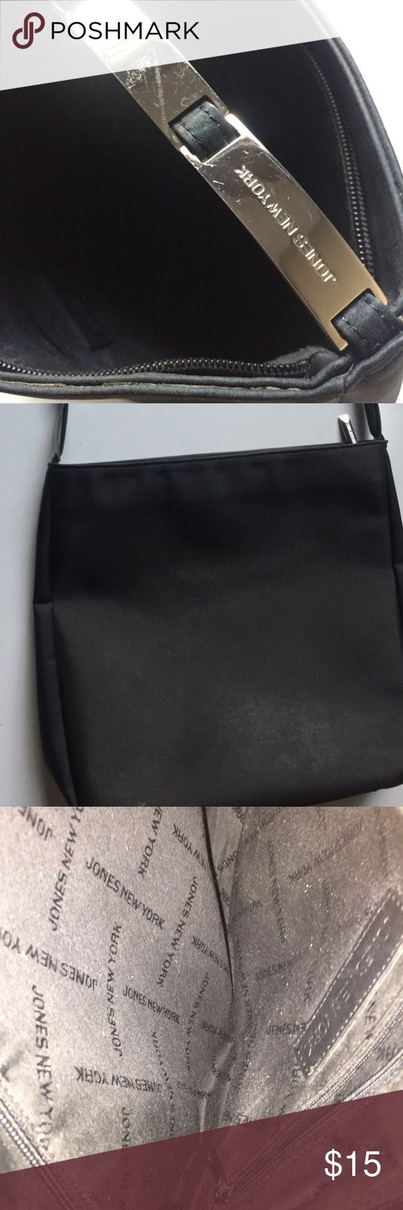 Jones New York Purse Excellent condition. Like new. Black Jones New York purse with silver shoulder strap. Jones New York Bags Shoulder Bags