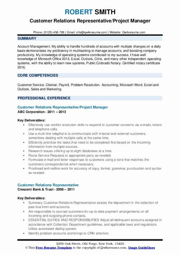 Customer Relationship Manager Resume Elegant Customer Relations Representative Resume Speech Language Pathologists Speech And Language Relationship Management