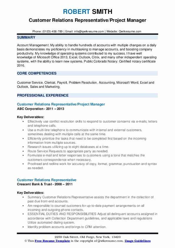 Customer Relationship Manager Resume Elegant Customer Relations Representative Resume Speech Language Pathologists Speech And Language Relationship Management
