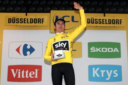 %TITTLE%-          AP                  Published 9:27 a.m. ET July 1, 2017 | Updated 7:30 p.m. ET July 1, 2017       Geraint Thomas of Great Britain and Team Sky celebrates securing the yellow jersey following victory during Stage 1 of the Tour de France.(Photo: Chris Graythen, Getty...-https://losporcos.com/geraint-thomas-takes-first-stage-of-tour-de-france.html