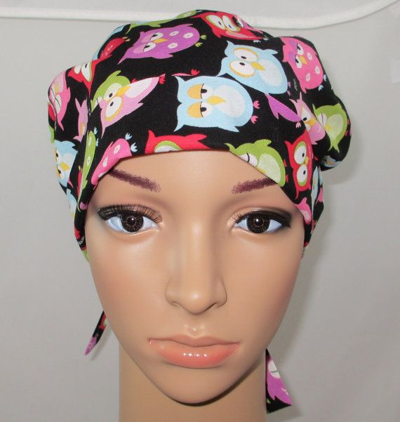 Women's Tie Back Surgical Scrub Hat/ Chemo hat by HatEnvyScrubHats