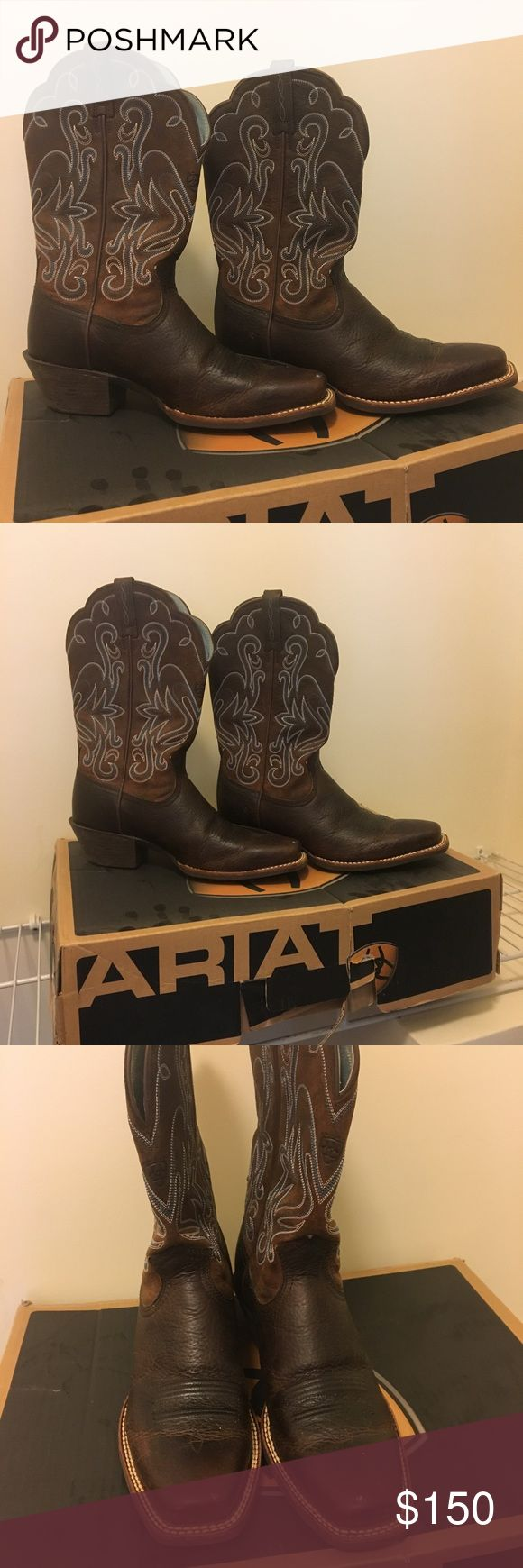 Ariat brown leather embroidered cowboy boots Dark brown leather and turquoise blue embroidered Ariat cowboy boots in 8.5. Brand new with the box! Size 8.5 but runs small, size up a half size. Ariat Shoes