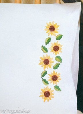 Tobin Stamped #embroidery #Sunflower Yo #pillowcases ♥ #spring #mothersday #gift #home #DIY #needlework #stitching