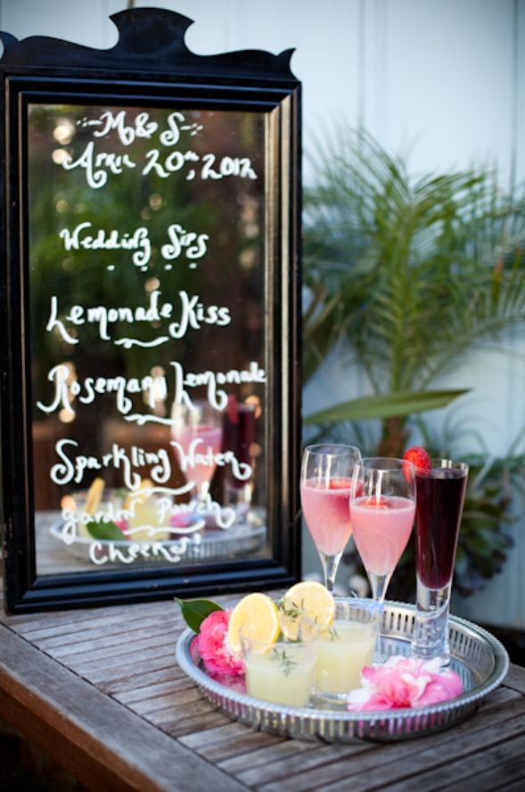 A whimsical cocktail menu on a mirror: Signature Drinks, Cocktails Menu, Vintage Weddings, Antiques Mirror, Whimsical Cocktails, Signature Cocktails, Mirror Menu, Mirror Ideas, Drinks Ideas