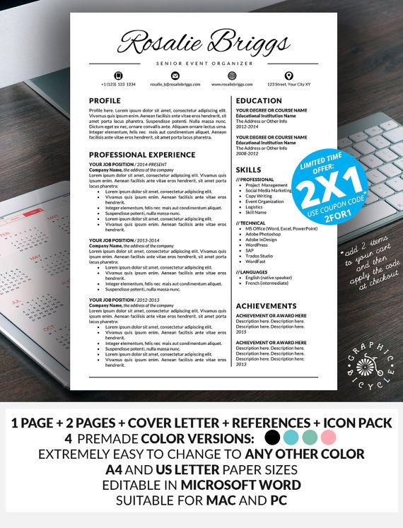 resume template instant download creative resume template word  creative cv  cover letter