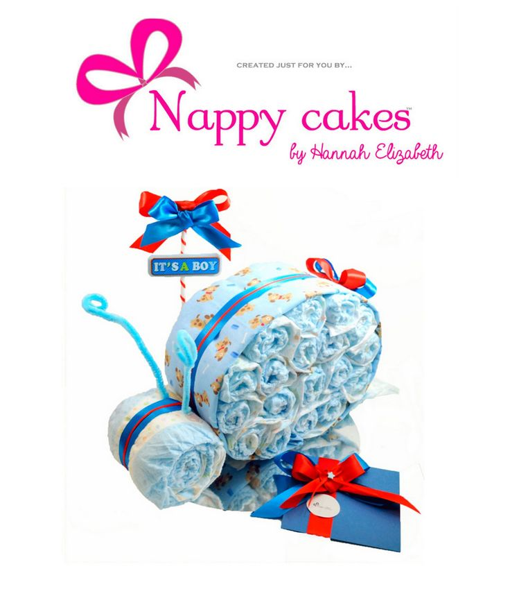 Dont you love the shape and style of the Snail Nappy cake? Its so cute and special as a gift. Perfect for any baby shower or when bubs arrives! FREE EXPRESS POST TO YOUR DESTINATION OF CHOICE Australia wide only. You can also choose your OWN colours. http://www.nappycakesbyhannahelizabeth.com/apps/webstore/products/show/4373221