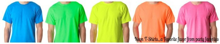 Neon T-Shirts make great favors when they are imprinted with your custom Mitzvah logo.  Party Favorites - Event Planning Resource - BAR MITZVAHS WEDDINGS BAT MITZVAHS SHOWERS SWEET 16s