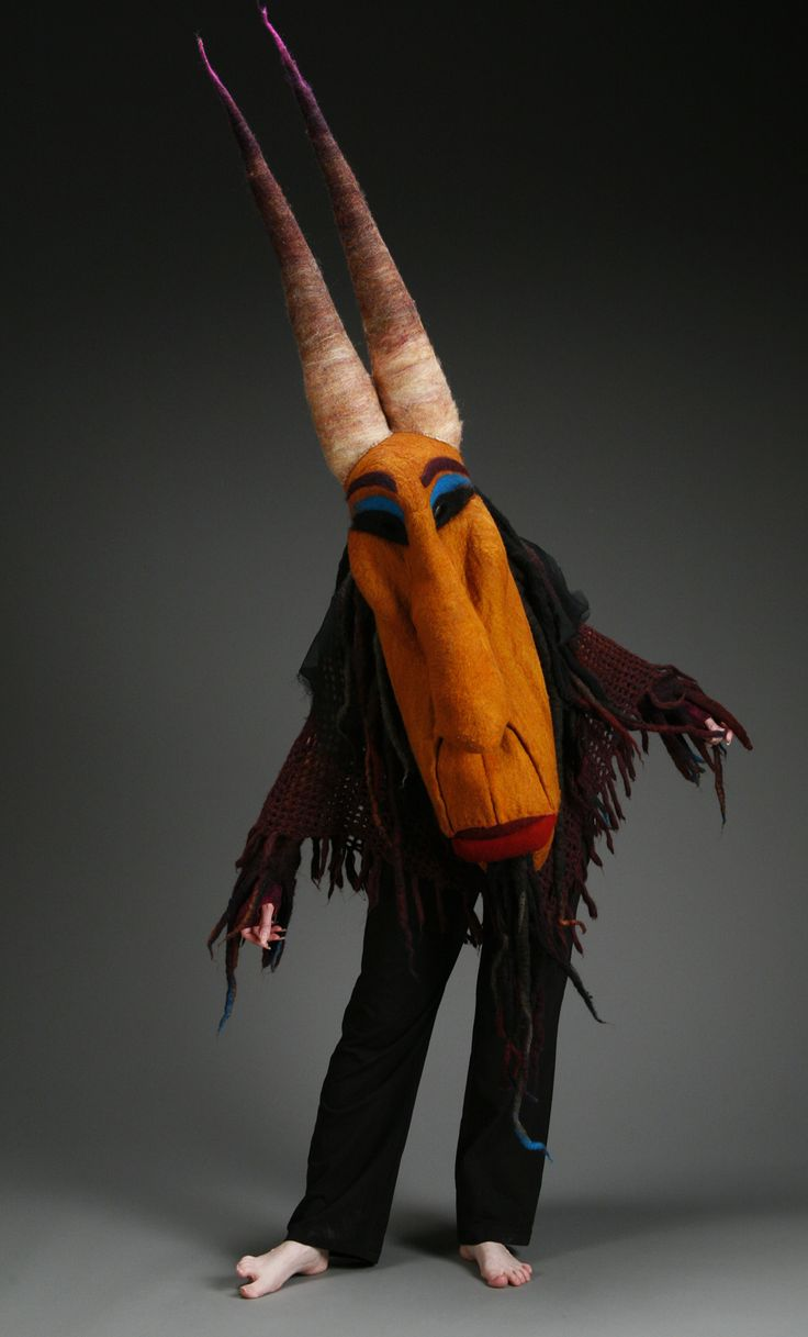 University of Kansas Textiles teacher and our co-worker, Danielle Yakle, specializes in felted objects, including her incredible mask.