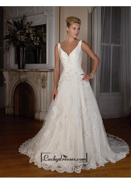 Beautiful Elegant Exquisite Satin A-line Wedding Dress In Great Handwork