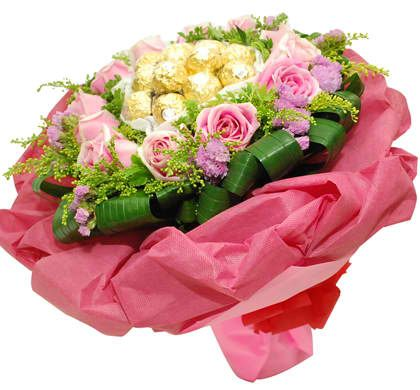 A Bouquet of Roses and ferrero chocolate.
