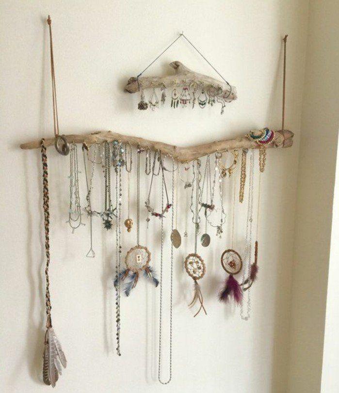 colliers diy suspendus de branches en bois flotté, porte boucle d oreille maison et porte colliers