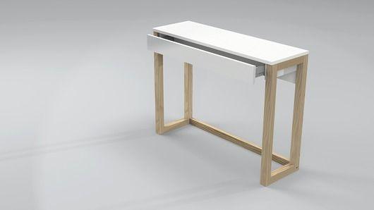 meble - domowe biuro - biurka-Konsola z szufladą, nogi drewniane (KD51)