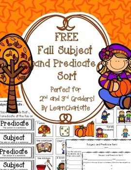 Making learning subject and predicate easy! Fun, fall themed literacy center that quickly helps students master the grammar skill of identifying subjects and predicates in simple sentences. Fall themed, but works all year! Like this Free Product?Get the full Subject and Predicate Sort here! 36 Subject and Predicate Cards!Find a Complete and Incomplete sentence sort here!