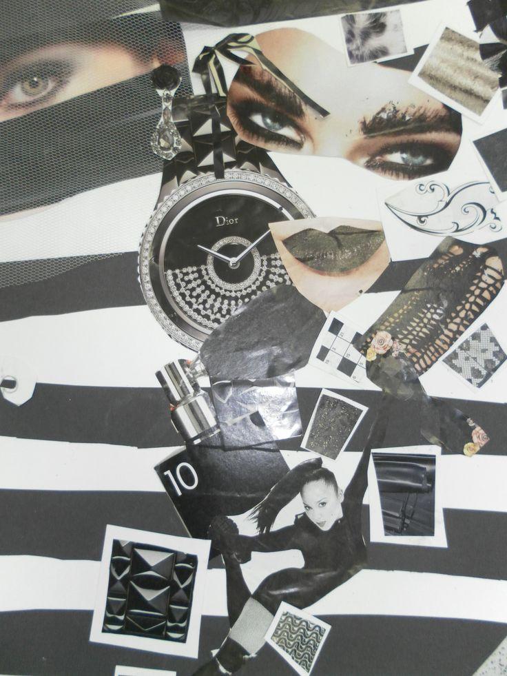 Fashion Moodboard - monochrome fashion collage inspiration board for fashion design