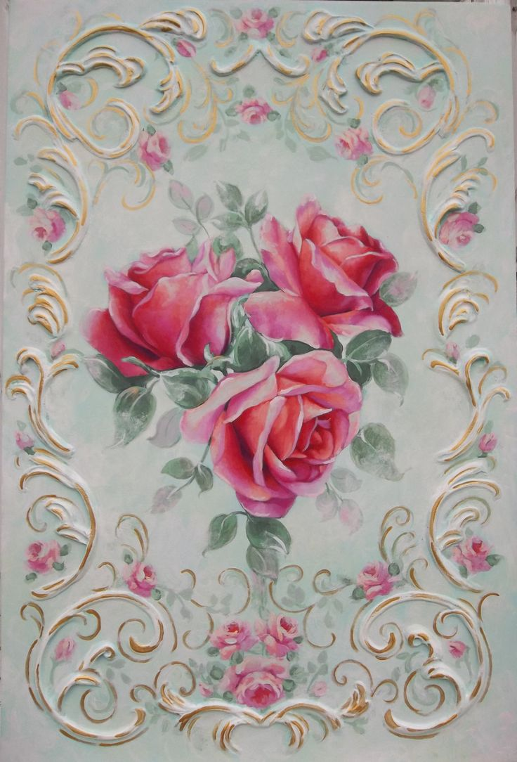 vintage rose painting french rococo victorian от RoyalRococo
