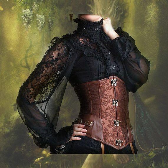 Steampunk underbust korset steampunk kleding steampunk mode onder buste