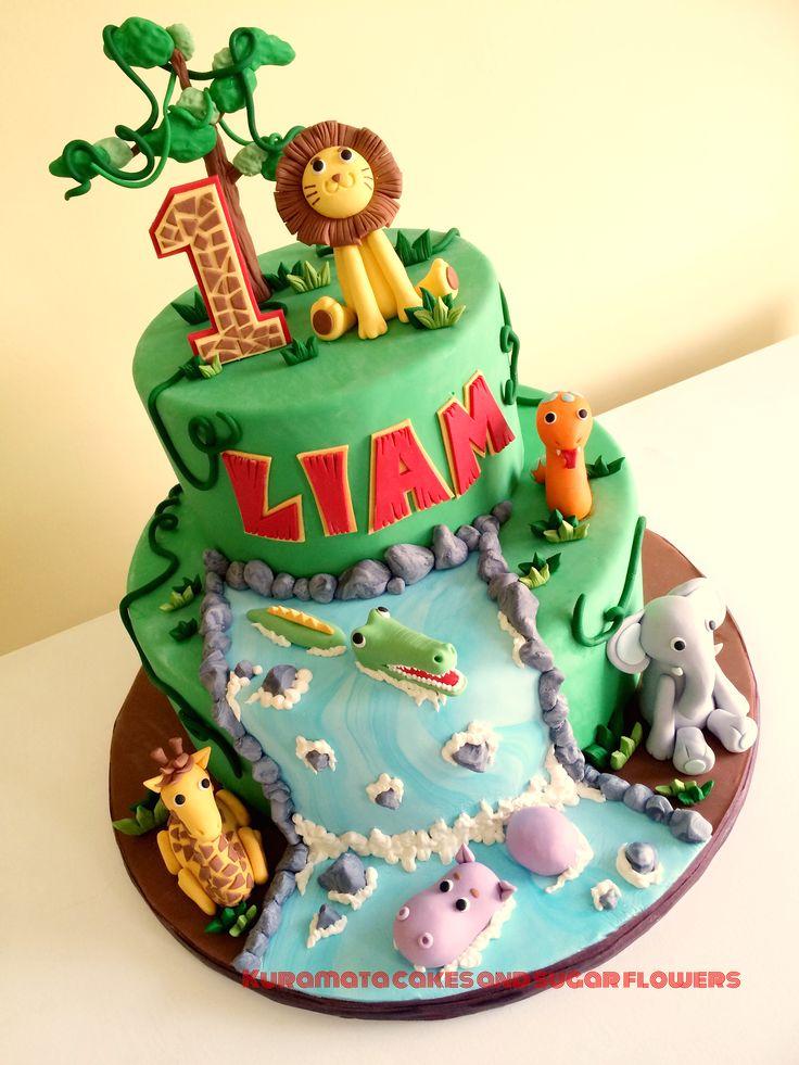 Jungle water fall 1 st Birthday cake!