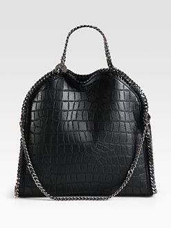 Stella McCartney - Falabella Crocodile Embossed Fold-Over Tote