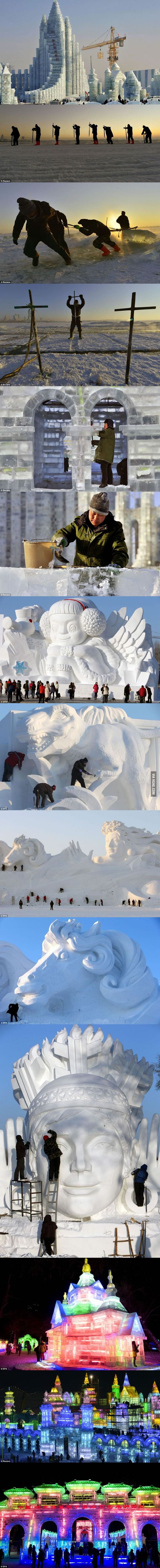 China built a giant frozen castle entirely from ice. It's created for the 30th Harbin Ice and Snow Festival.