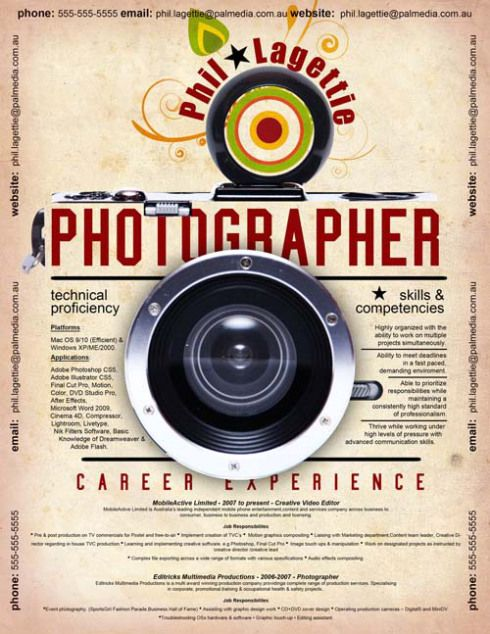 21 best Photographers Resumes images on Pinterest Creative - photography resume